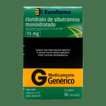 Cloridrato de Sibutramina - EuroFarma - 15mg (30Comp) - 5 UNIDADES